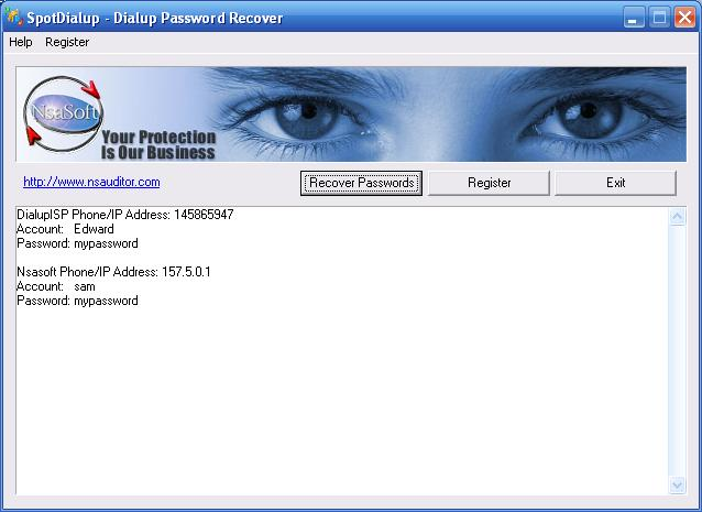 Dial-Up, Internet and virtual private network Password Recovery
