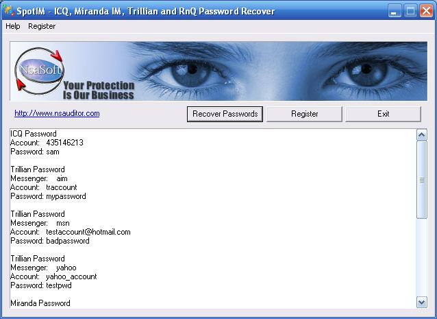 ICQ, Trillian, Miranda instant messenger Password Recovery