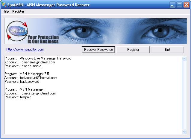 MSN Messenger and Windows Live Messeger Password Recovery