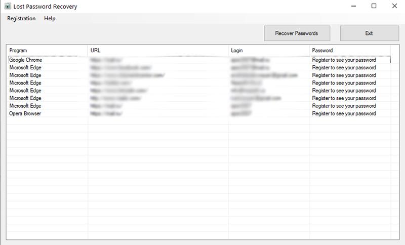 LPR Lost Password Recovery full screenshot